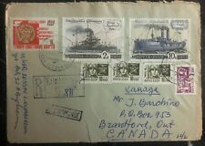 1973 Kingisepp Russia USSR Registered Airmail Cover To Branford Canada