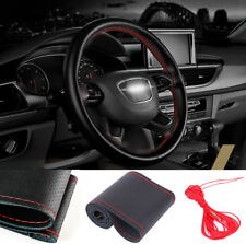 36cm/14'' DIY Car Steering Wheel Cover w/Needle Thread Black Leather Red Line