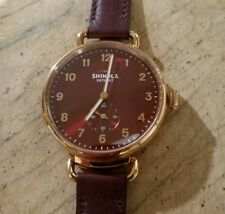Shinola The Canfield Watch With 38mm Burgandy Face & Rose Gold Bezel