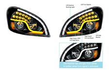 Pair LED Blackout Headlights W/ Dual LED DRL & Turn for Freightliner Cascadia