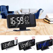 Digital Led Time Projector Snooze Alarm Clock Usb Fm Radio Temperature Humidity