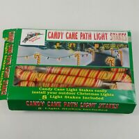 Santas Station 8 Candy Cane Path Light Stakes w/ Box Vintage Christmas