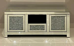 Mirrored TV Unit Cabinet Stand Crushed Diamond Living Room Furniture