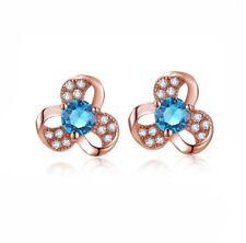 Blue Topaz Earrings Austrian Crystal Clover Lady Earrings Stud 18K Rose Gold GP