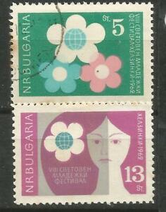 BULGARIA Scott# 1236-1237 (0) y (*) MNH Festival por la Paz y Amistad 1962