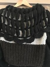 Couture Alpaca Wool Colorblock Sweater Shawl Wrap Leather Wool Trim Italy 46