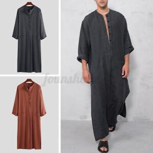 Muslim Clothing Mens Saudi Arab Thobe Kaftan Maxi Dress T Shirt Full Length Tops