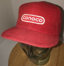 VTG CONOCO 70s 80s USA Louisville MFG CO Red Corduroy Hat Cap Snapback Gas Fuel