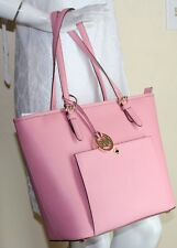 NWT MICHAEL Michael Kors Misty Rose/Gld LG Leather Top Zip Snap Pocket Tote $228