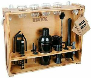 Bartender Kit 19-Piece Bar Tool Set with Rustic Wood Stand Cocktail Shaker Set