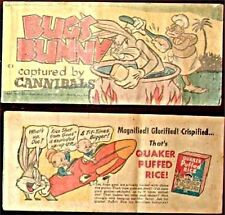 Quaker Puffed Rice Rare Giveaway Promo Mini Cereal C-3 Bugs Bunny Cannibals Vg