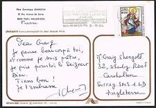 France 1993/4 Postcard to UK. Red Cross Fund/Sheep Grazing.