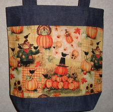NEW Handmade Medium Fall Autumn Pumpkin Patchwork Give Thanks Denim Tote Bag