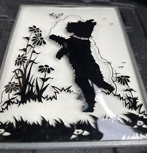 Vintage Painted Silhouette Scottie Dog Convex Glass Picture