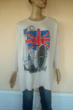 PULL TUNIQUE LEGER LONDON BLANC IMPRIME LONDON TRES DOUX NEUF TM/L