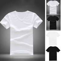 Summer Men Casual Cotton Short Sleeve V-neck T-Shirt Tops Black White Shirt New