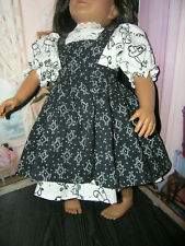 "White Tea Dress Black Print Apron 2 piece Dress 23"" Doll clothes fits My Twinn"