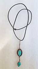 Vintage Turquoise and Silver Dangling Necklace 1960s