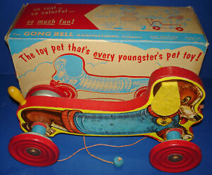 The Gong Bell MFG. Co.Wood & Metal DUTCHIE DOG #230 Pull Toy & Box CT USA 1940s