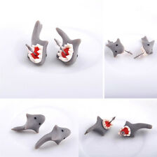 Handmade PolymerClay Soft Cute Shark Earrings Women Animal Ear Stud Jewelry Gray