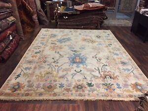 "On Sale Genuine Hand Knotted Indo Oushak Geometric Area Rug Carpet 8'10x11'8"",#1"