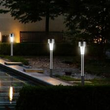 10pcs LED Solar Light Stainless Steel Lawn Lamp Garden Waterproof Decor Lights