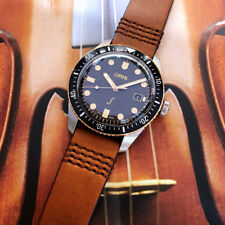Oris Divers Sixty Five 42mm Mens Swiss Watch Blue Dial Brown Strap 7720 Complete