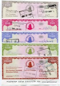 Zimbabwe 2003 5 Travellers Cheque Set Rare Free Shipping
