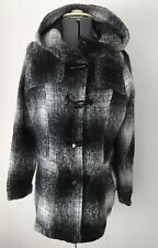 WOMENS ATMOSPHERE PRIMARK BLACK White DUFFLE COAT JACKET Hooded Sz 16 New