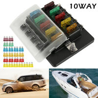 10 Way Blade Fuse Box Block Holder LED Warning Light for 12V/24V Car Marine Tool