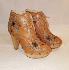 FAUZIAN JEUNESSE Vintage Ankle Shearling Boots Embroidered Floral Sz 37 US 7