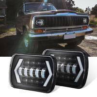 "55W 7X6"" 5x7"" DRL Cree LED Headlights Hi-Lo Beam For Jeep Cherokee XJ 1984-2001"
