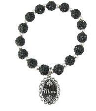 Mimi Black Jeweled Beads Crystal Stretch Bracelet Domed Charm Jewelry Gift