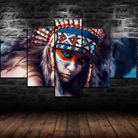 Native American Indian Woman 5 pcs Painting Print Canvas Wall Art Home Decor