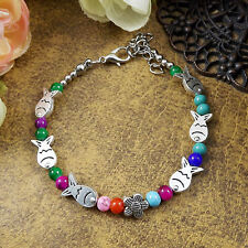 HOT Free shipping New Tibet silver multicolor jade turquoise bead bracelet S66