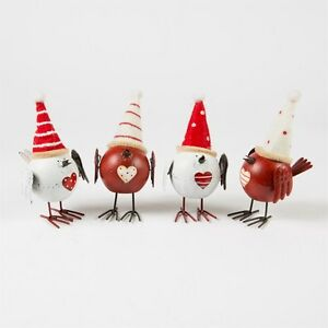Sass & Belle Christmas Decoration Cheerful Metal Bird with Hat White & Red