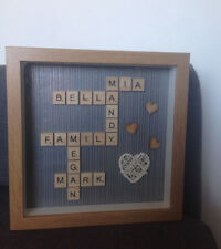 Personalised Family Scrabble Letter Box Frame Picture Christmas Present Mum Dad