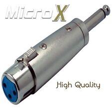 3 Pin hembra XLR Hembra a Macho 6.3mm MONO Jack Enchufe Adaptador Convertidor