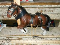 Vintage Hong Kong Hard plastic CLYDESDALE HORSE FIGURE W/Accessories (#3165)