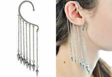 Pair Fashion Gothic Punk Silver Tine Spike Dangle Ear Cuff Wrap Clip Earring