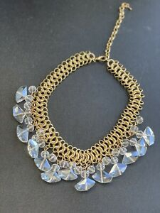 Fashion Necklace, double chain and shinning stones White