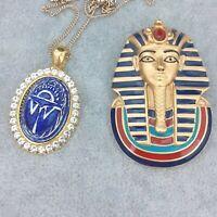 Egyptian Revival Lapis Blue Scarab Pendant & Franklin Mint Tutankhamun Brooch