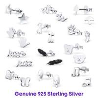 Womens Childrens Sterling Silver 925 Simple Ear Stud Earrings Hypoallergenic