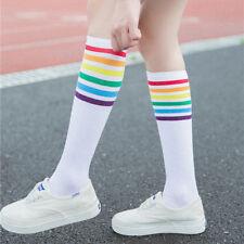 Girls Unisex Thigh High Socks Over Knee Rainbow Stripe Football Socks BlackWhite