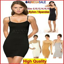 Long Basic Slip Dress Cami Top Seamless Womens Tight Camisole Shapewear Spandex