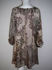 Lily Whyt Boho Ladies Top Size S Brown Animal Print Beach Casual Summer Comfy