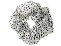 White Crinkle Dot Spot Fabric Scrunchie Hair Bobble Hair Elastic Band UK