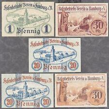 Hamburg -Hafenbetriebs-Verein- 5 versch. Verkehrsscheine aus 1919/1920