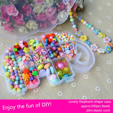 500pcs Mix Colour Jewelry Beads Set in Cute Box Free Cord For Kids Crafts DIY