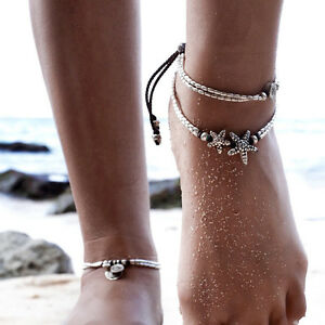 Women's Fashion Jewelry Silver Color Starfish Anklet Ankle Bracelet 64-4